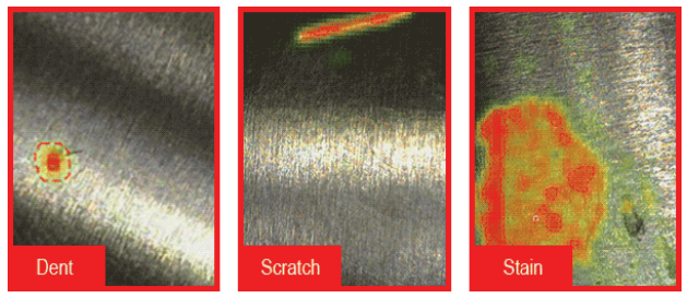 Immagini acquisite da ViDi Classify distinguono tra difetti dovuti da ammaccature, macchie e graffi