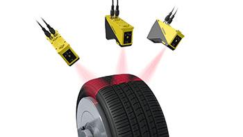 Tire tread profile measurement using three Cognex laser profilers