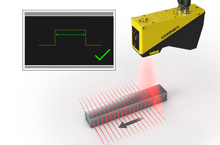 Laser Profiler scanning metal rectangle