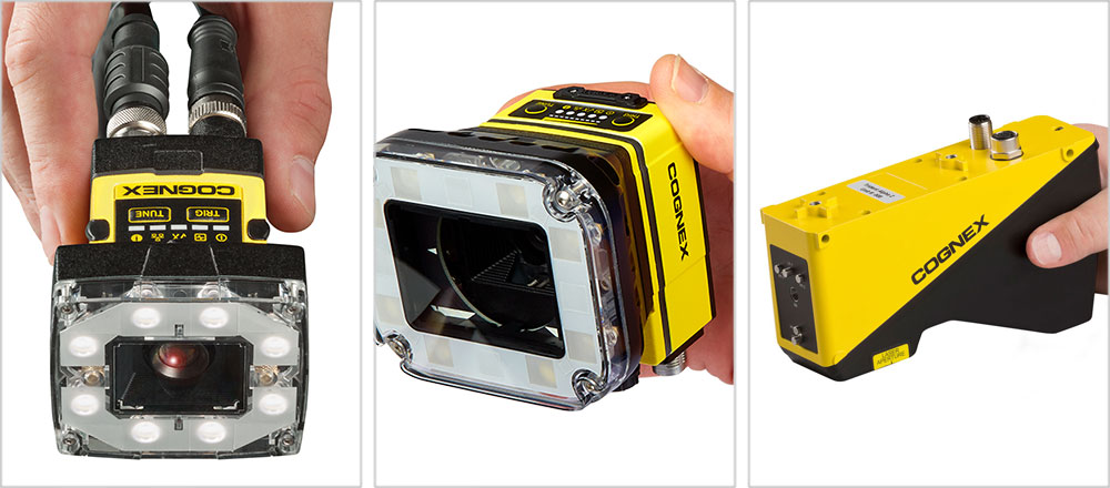 hand holding Cognex products insight 2000, 7000 and DS1000