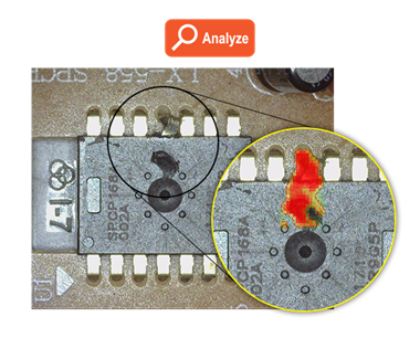 ViDi Red Analyze Tool finds capacitor bent pin