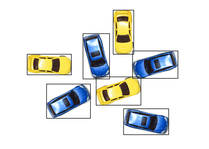 Example of SuaKIT detection features of found blue and yellow cars