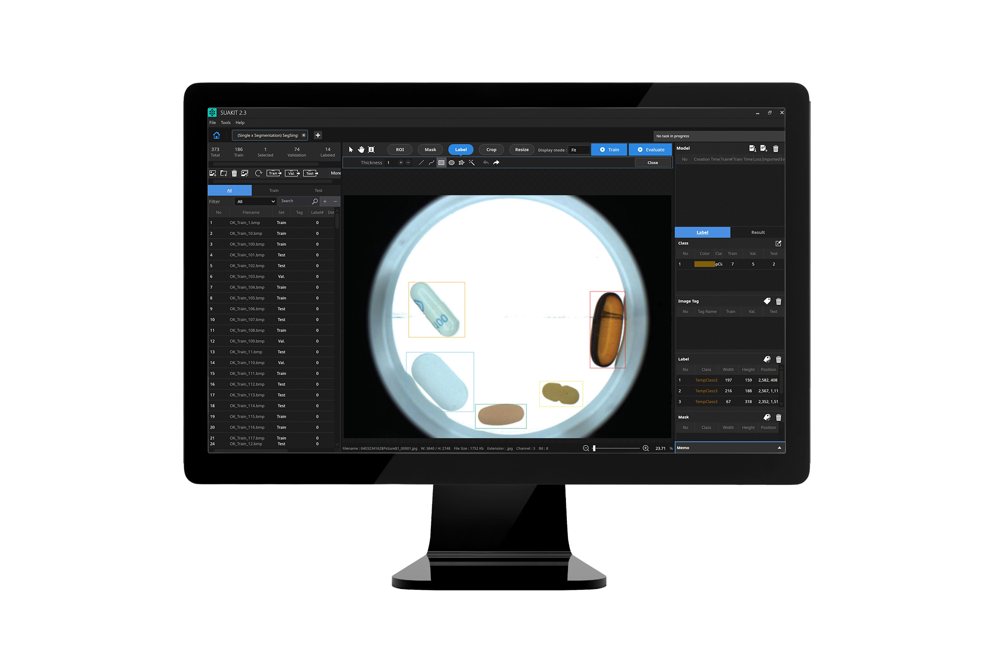 SuaKIT deep learning vision software on computer monitor