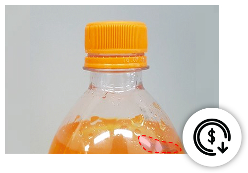 Defect detected on a soda bottle