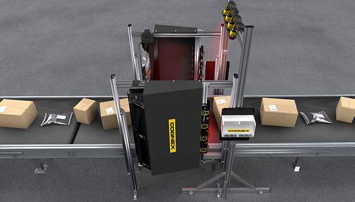 Boxes being scanned by a 3-Sided barcode reading tunnel