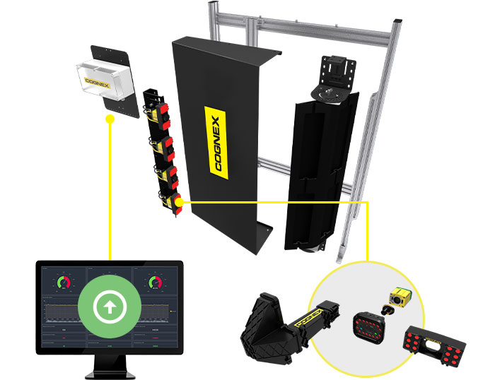 Exploded view of side-mounted barcode reader