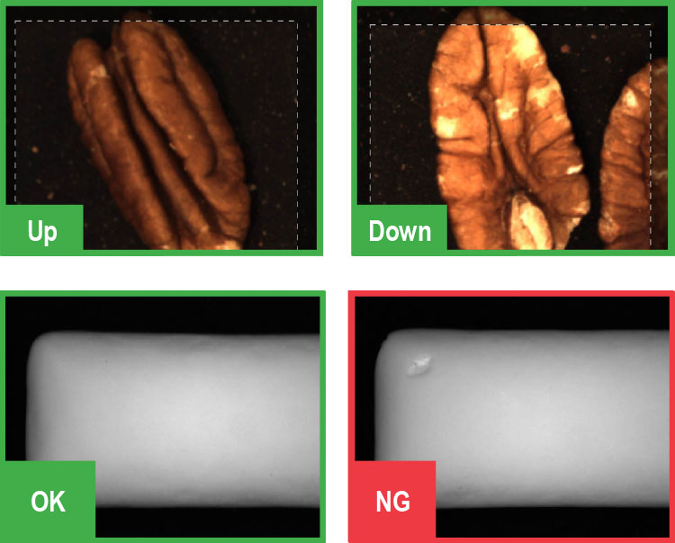 Green tool software classifying up and down pecans and NG dented packaging