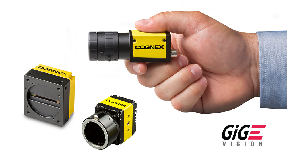 Man holding small Cognex camera CIC with two others and GIGE vision logo