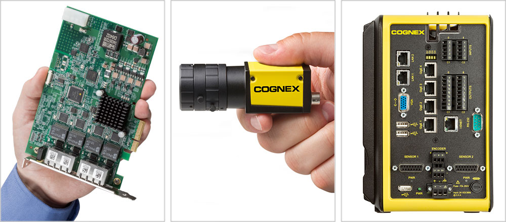 Hand holding GigE Frame Grabber, man holding area scan industrial camera, and a vision controller