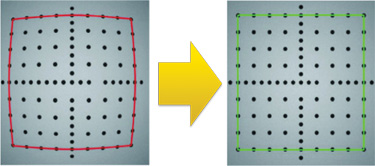 Cognex calibration tool flattens appearance of dotted shape