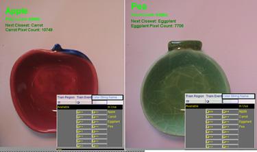 Color tools apple vs. pea dish