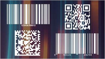 1d and 2d barcodes on colorful background