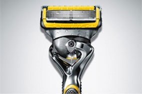high definition grey and yellow shaving razor