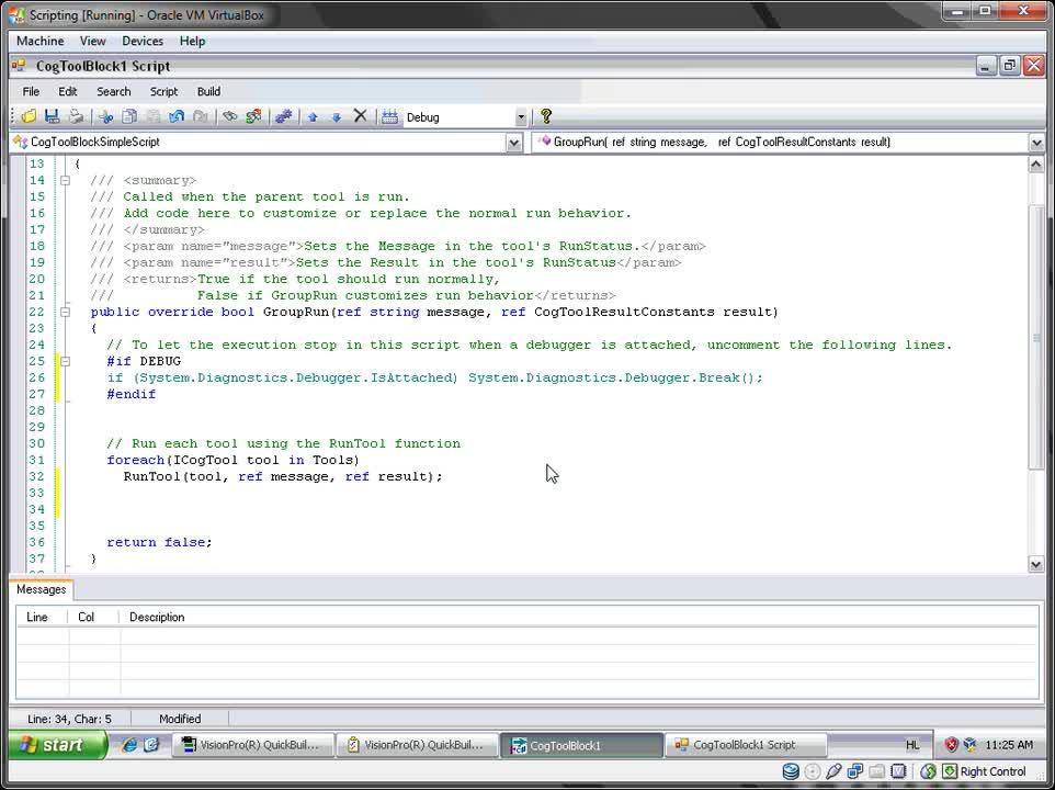 VisionPro - Script Debugging - VS Professional
