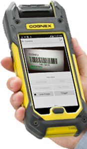 man using mobile phone barcode scanner