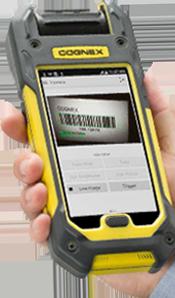 man using mobile phone barcode scanner
