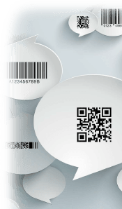 barcode symbologies in speech bubbles
