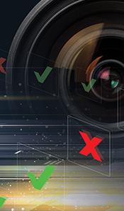 Vision sensor lens pass fail checks and x