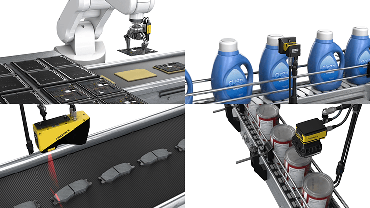 Cognex Machine Vision Systems inspecting electronics, detergent, brake pads, and canned food