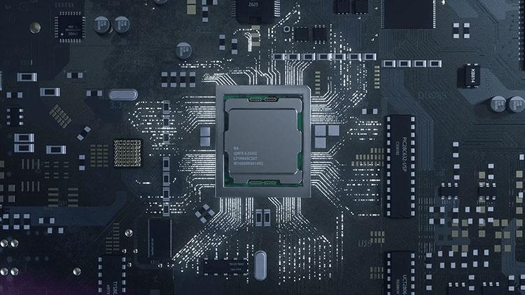 grey digitally rendered circuit board