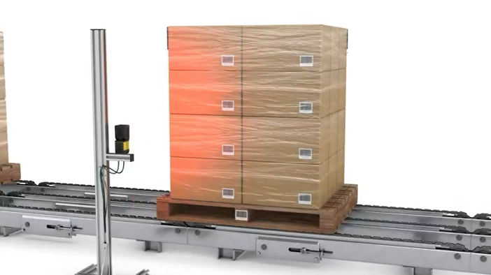 Still from a video of DataMan 470 with high-speed steerable mirror reading multiple barcodes on stacked boxes