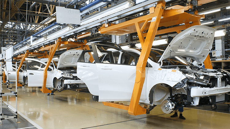 automotive assembly line making electric vehicles