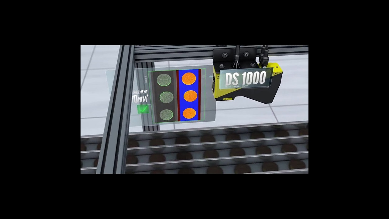 cognex ds100 mounted about food conveyor inspecting cookies for breakage
